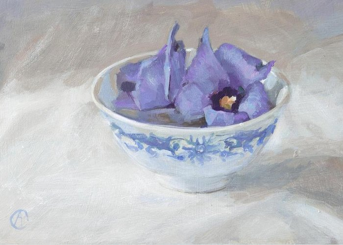 Blue Hibiscus Flower Chinese Bowl Cup Floral Florals White Grey Rectangle Still Life Kitchen Decoration Greetingcard Postcard Flowers Garden Orange Yellow Green Brown Red Marigolds Stripes Nature Natural Home Outdoors Indoor Interior Designers French Country European Square Sun Bright Colourful Happy Fall Autumn Warm Black Vintage Leaves Contemparary Impressionism Photo Realism Abstract Still Life Floral Kitchen Table Dinner Food And Beverages Blue Garden Fruits White Greeting Card featuring the painting Blue Hibiscus Flower In Chinese Cup by Anke Classen