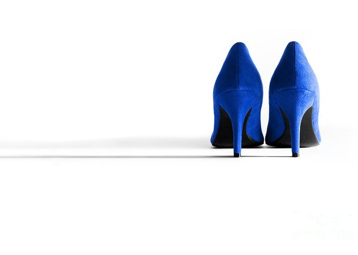 Shoe Greeting Card featuring the photograph Blue High Heel Shoes by Natalie Kinnear