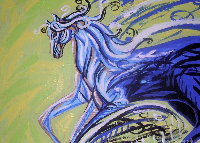 Blue Horse Greeting Card featuring the painting Blue Horse by Genevieve Esson