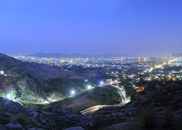 Scenics Greeting Card featuring the photograph Blue Hour Ajmer City Panorama by Nimit Nigam