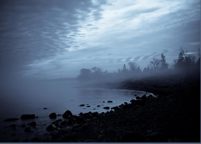 Fog Greeting Card featuring the photograph Blue Hour Mist by Mary Amerman