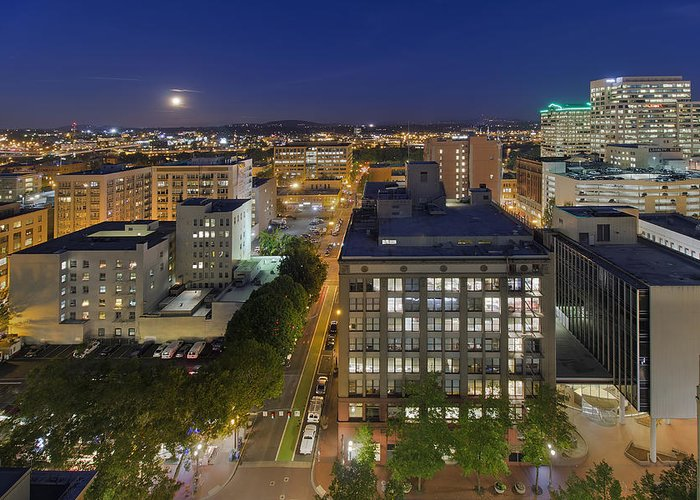 Blue Hour Greeting Card featuring the photograph Blue Hour Moonrise II Over City Of Portland Oregon by David Gn