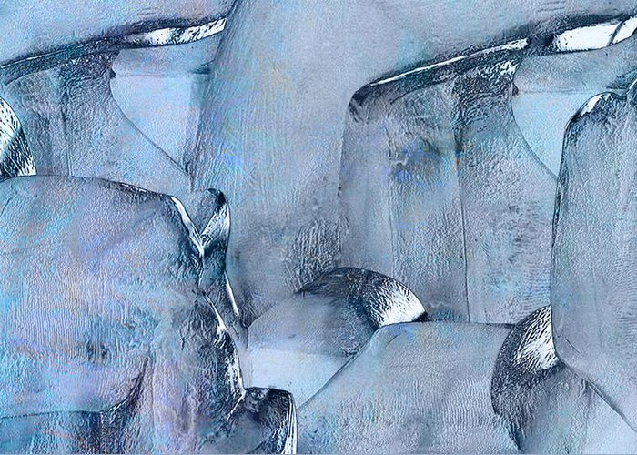 Abstract Greeting Card featuring the painting Blue Ice by Jack Zulli