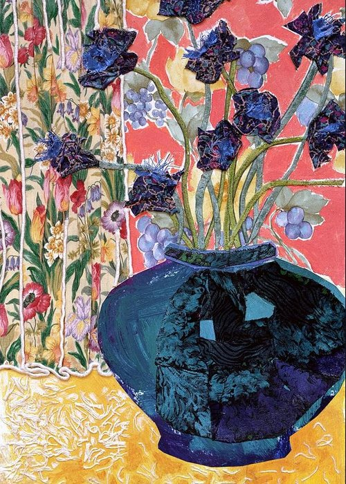 Flowers In A Vase Greeting Card featuring the mixed media Blue In Blue by Diane Fine