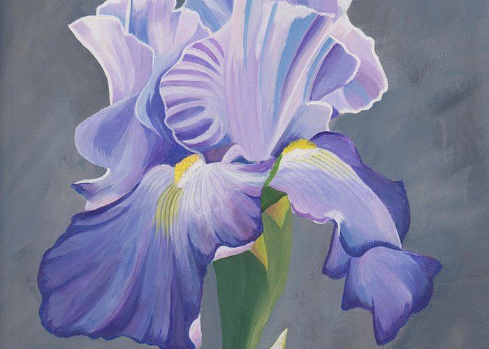 Fine Art Greeting Card featuring the painting Blue Iris by Gregory Murray