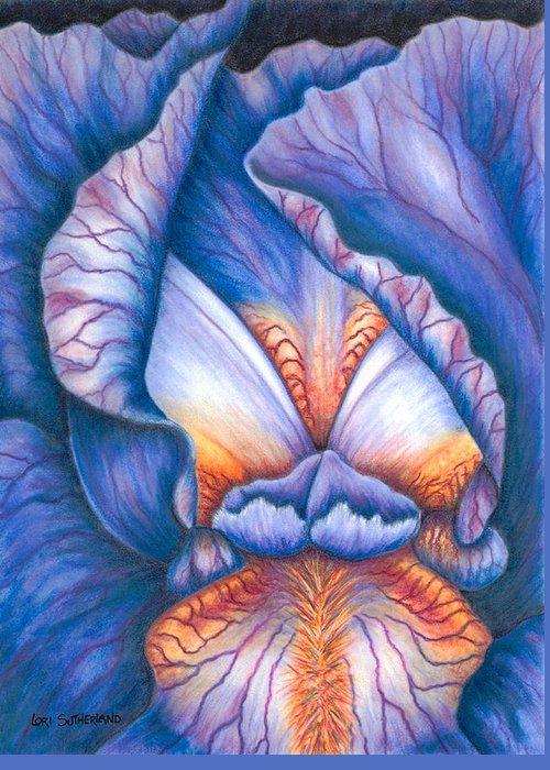 Pastel Greeting Card featuring the painting Blue Iris by Lori Sutherland