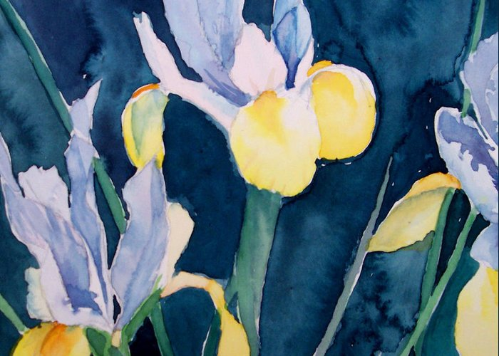 Flowers Greeting Card featuring the painting Blue Iris by Philip Fleischer