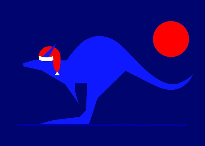 Blue Kangaroo Wishes You A Merry Christmas On Dark Blue Greeting Card featuring the digital art Blue Kangaroo Wishes You A Merry Christmas On Dark Blue by Asbjorn Lonvig