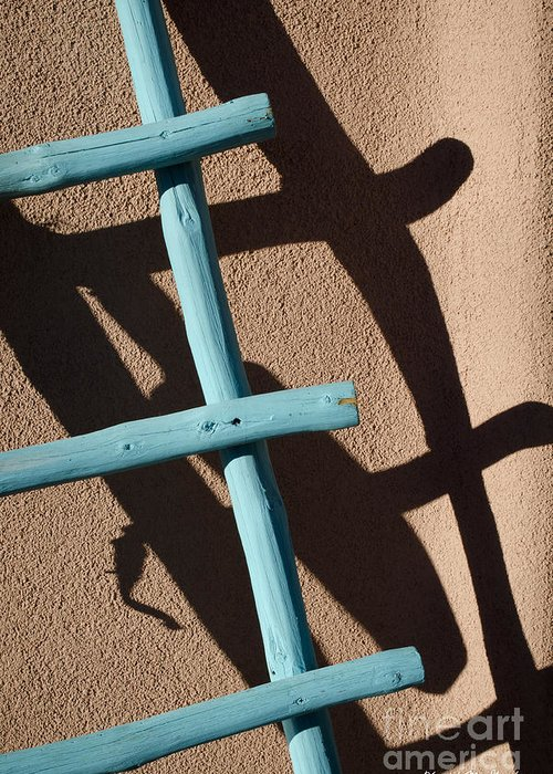 Blue Greeting Card featuring the photograph Blue Ladder And Shadow by David Gordon