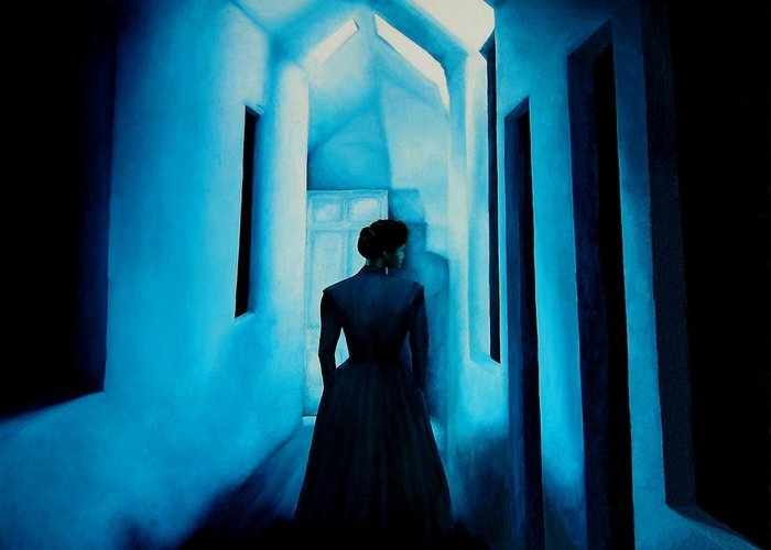 Oil Painting. Lady.blue Lady. Blue . Surreal Impressionism Greeting Card featuring the painting Blue Lady In The Hall by Ivan Rijhoff