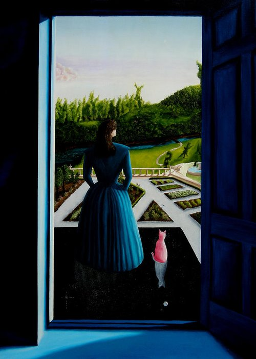 Oil Painting.blue Lady. Garden. Surreal Impressionism Greeting Card featuring the painting Blue Lady Thru The Door by Ivan Rijhoff