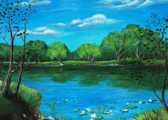Calm Greeting Card featuring the painting Blue Lake by Anastasiya Malakhova