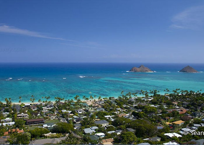 Panorama Greeting Card featuring the photograph Blue Lanikai Overview by Sean Davey