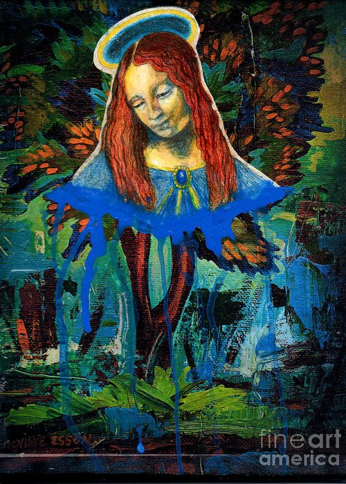 Mary Greeting Card featuring the painting Blue Madonna In Tree by Genevieve Esson