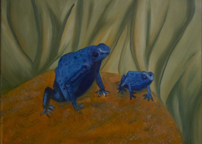 Frogs Greeting Card featuring the painting Blue Man Group by Angelia Young