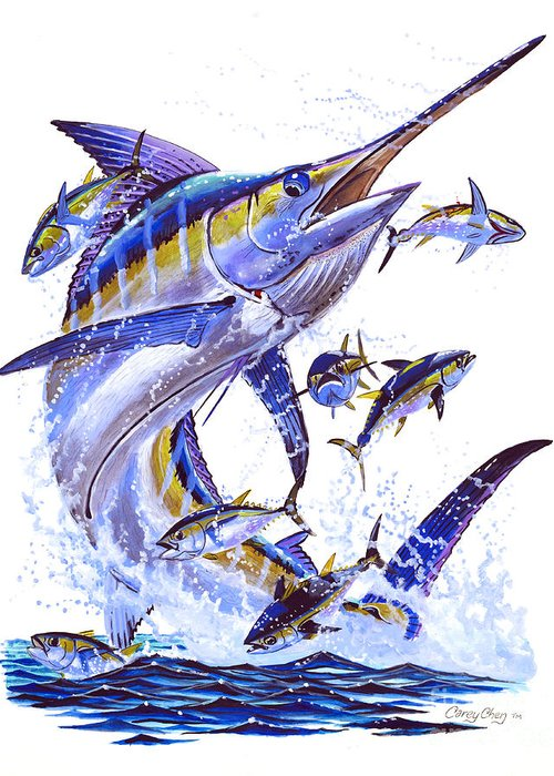 Blue Marlin Greeting Card featuring the painting Blue Marlin by Carey Chen