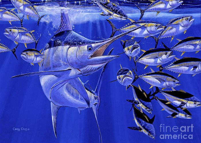 Blue Marlin Greeting Card featuring the painting Blue marlin round up Off0031 by Carey Chen