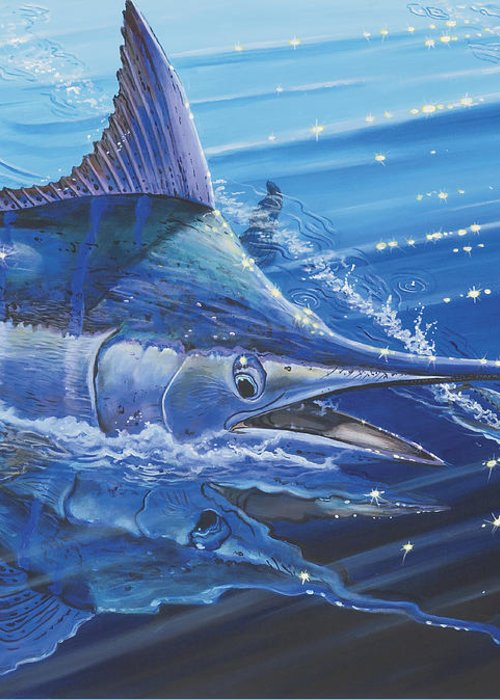 Blue Marlin Greeting Card featuring the painting Blue Marlin Strike Off0053 by Carey Chen