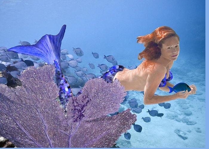 Mermaid Greeting Card featuring the photograph Blue Mermaid by Paula Porterfield-Izzo