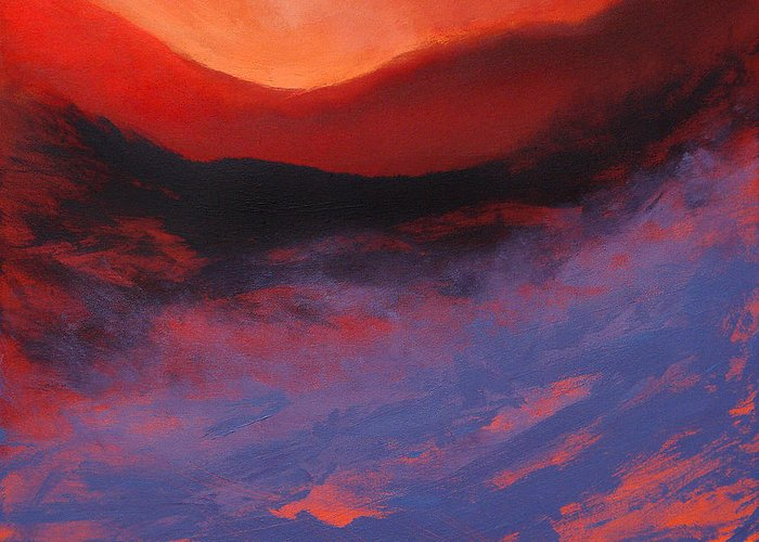 Expressionist Greeting Card featuring the painting Blue Mist Rising by Neil McBride