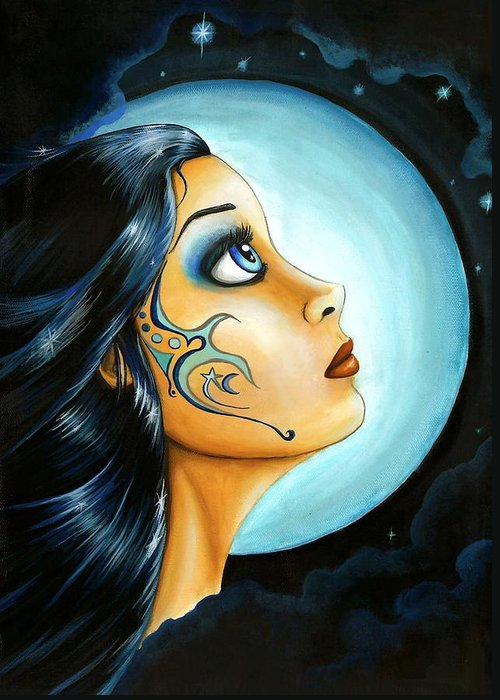 Fantasy Art Greeting Card featuring the painting Blue Moon Goodess by Elaina Wagner