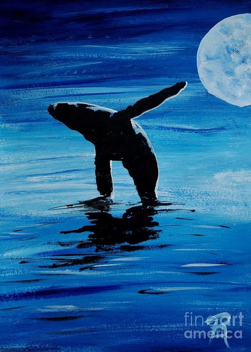 Whale Greeting Card featuring the painting Blue Moon I - Left Side - Acrylic by GD Rankin