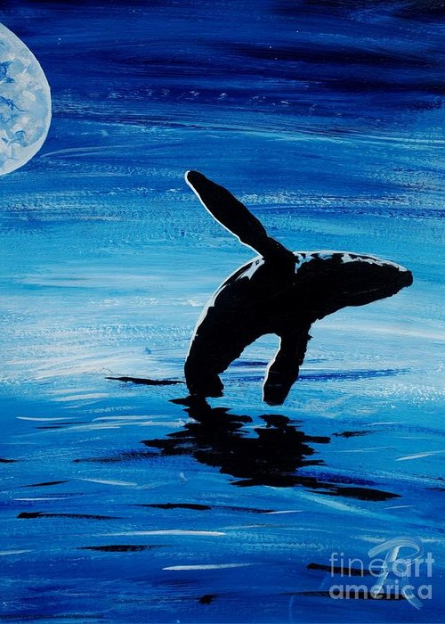 Whale Greeting Card featuring the painting Blue Moon II - Right Side - Acrylic by GD Rankin