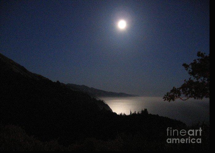 Big Sur Greeting Card featuring the photograph Blue Moon by Maureen J Haldeman