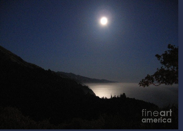 Big Sur Greeting Card featuring the photograph Blue Moon by Maureen J Haldeman