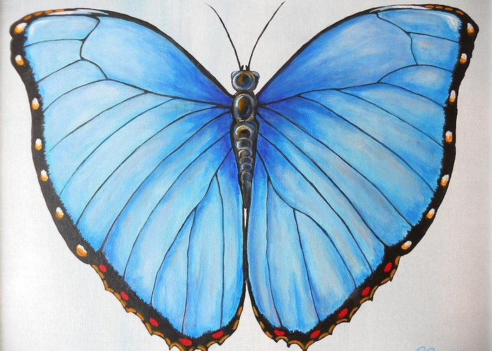 Blue Morpho Greeting Card featuring the painting Blue Morpho Butterfly by Patricia Dames