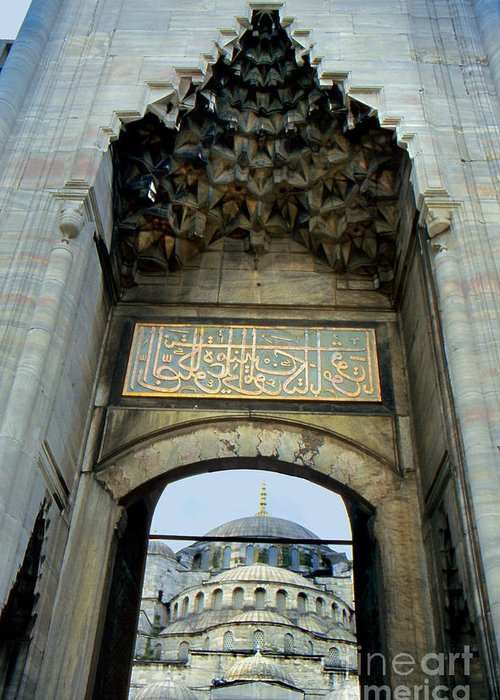Architecture Greeting Card featuring the photograph Blue Mosque Gate by Eva Kato