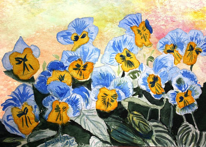Blue Pansy Greeting Card featuring the painting Blue Pansy by Donna Walsh