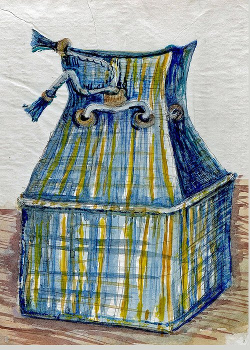 Art Greeting Card featuring the painting Blue Plaid Lunchbox by Elle Smith Fagan