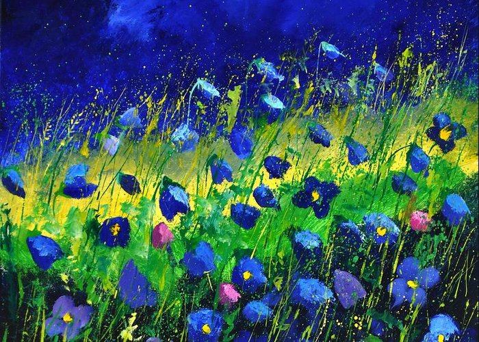 Landscape Greeting Card featuring the painting Blue poppies 674190 by Pol Ledent