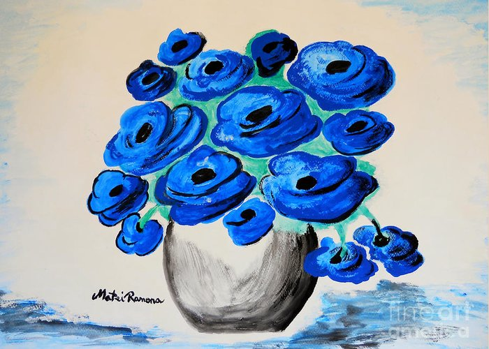 Poppies Greeting Card featuring the painting Blue Poppies by Ramona Matei