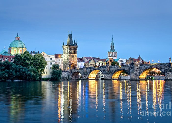 Prague Greeting Card featuring the photograph Blue Prague by Delphimages Photo Creations