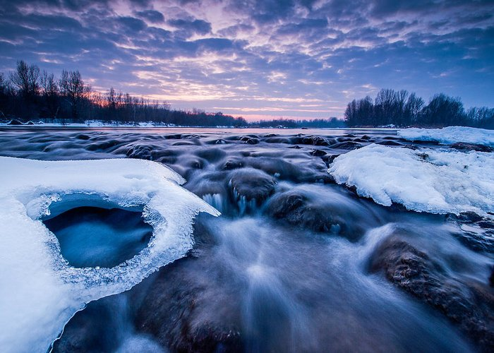 Landscape Greeting Card featuring the photograph Blue Rapids by Davorin Mance