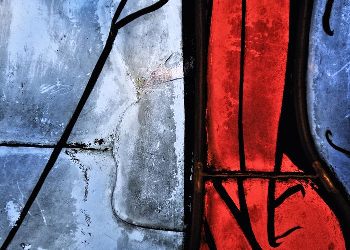 Abstract Greeting Card featuring the photograph Blue Red And Blue by Marianne Campolongo