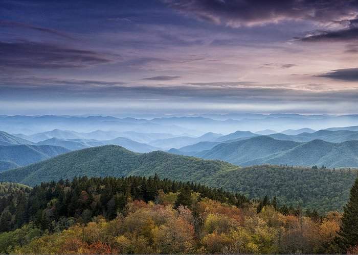 Blue Ridge Greeting Card featuring the photograph Blue Ridge Mountains Dreams by Andrew Soundarajan