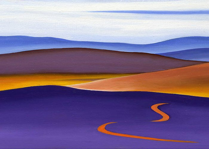 Blue Ridge Greeting Card featuring the painting Blue Ridge Orange Mountains Sky And Road In Fall by Catherine Twomey