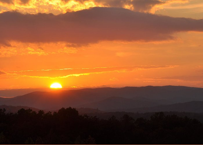 Greeting Card featuring the photograph Blue Ridge Sunset by Theron Clore