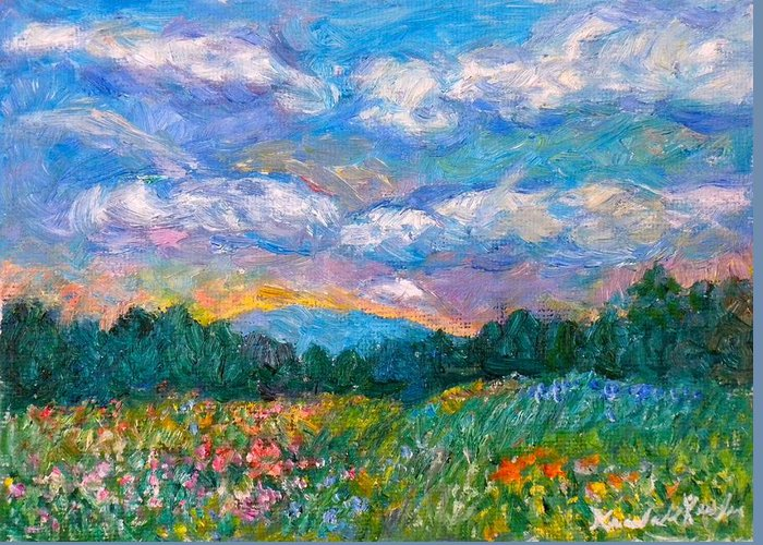 Landscape Greeting Card featuring the painting Blue Ridge Wildflowers by Kendall Kessler