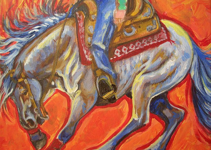 Horse Greeting Card featuring the painting Blue Roan Reining Horse Spin by Jenn Cunningham