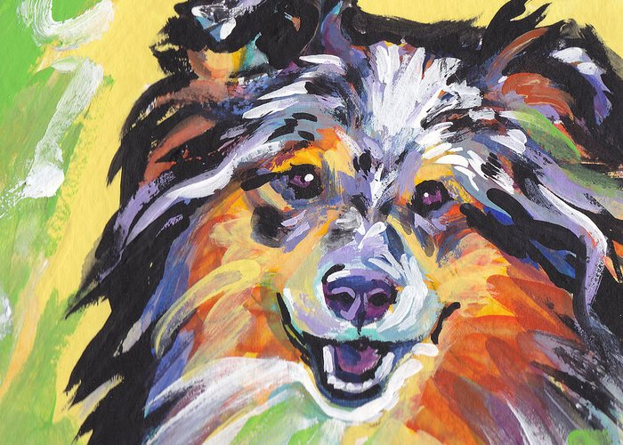 Shetland Sheepdog Greeting Card featuring the painting Blue Sheltie by Lea S
