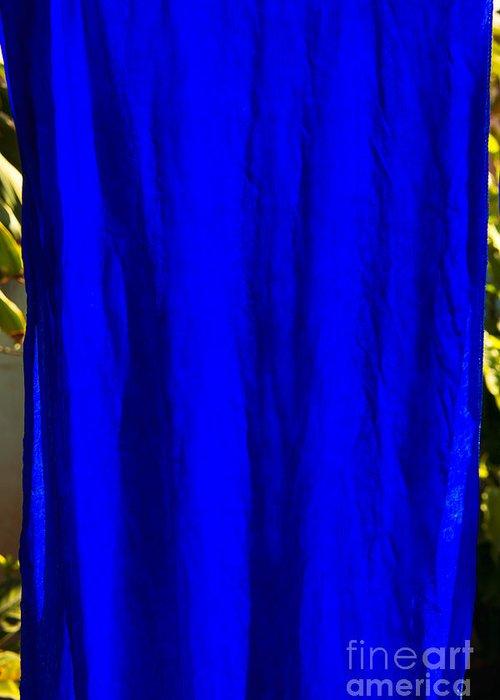 Viet Nam Silk  Silk Cloth Greeting Card featuring the photograph Blue Silk by Rick Bragan