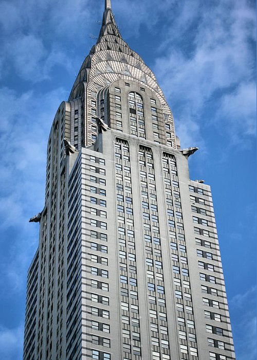 Chrysler Building Greeting Card featuring the photograph Blue Skies by JC Findley