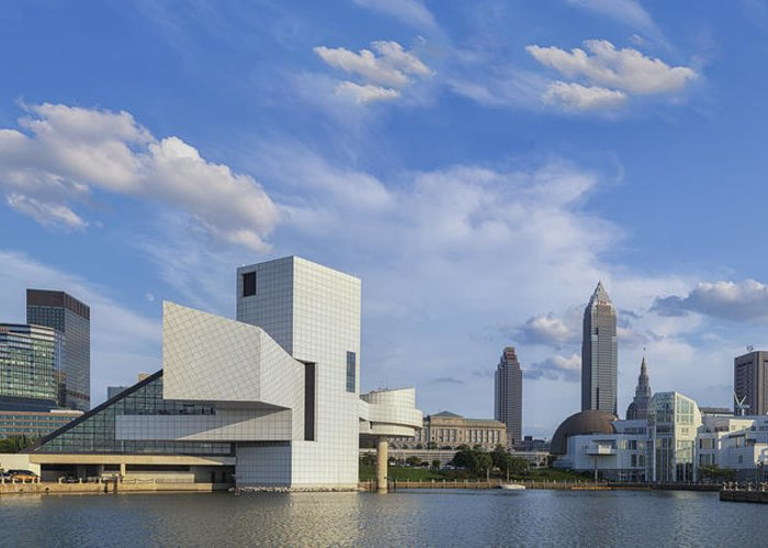 August Greeting Card featuring the photograph Blue Skies Over Cleveland by Jennifer Grover