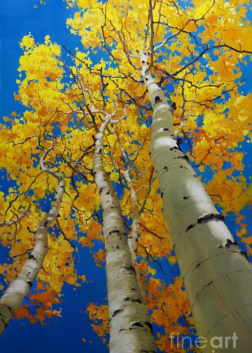 Blue Sky And Tall Aspen Trees Greeting Card featuring the painting Blue Sky And Tall Aspen Trees by Gary Kim