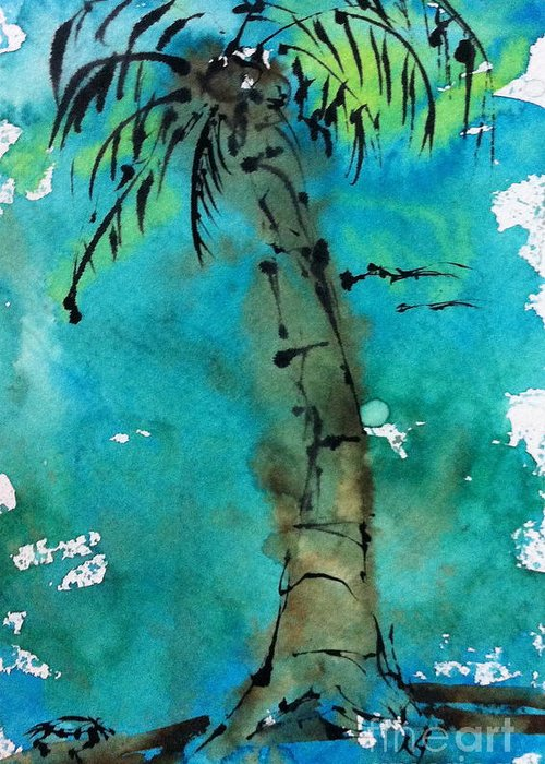 Watercolor Greeting Card featuring the painting Blue Sky Palm by Norma Gafford