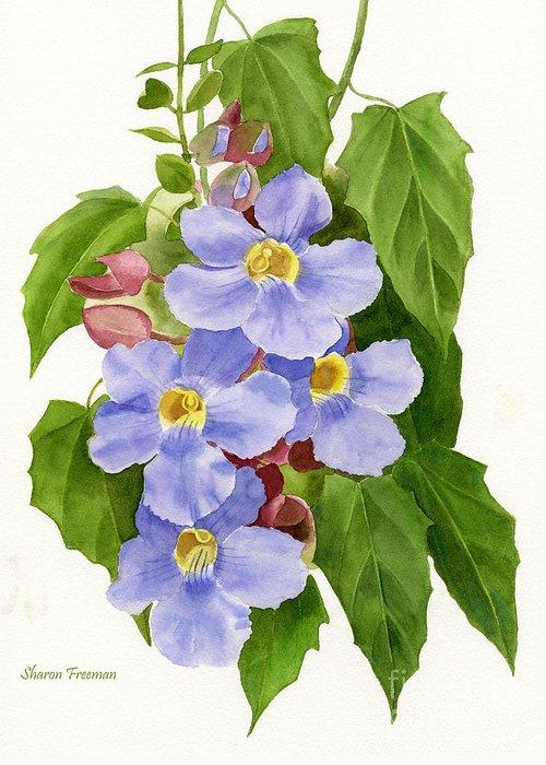 Blue Trumpet Flower Greeting Cards